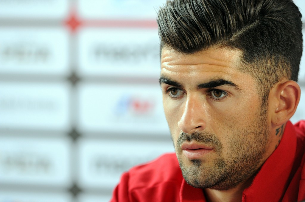 Albania's defender Elseid Hysaj holds a press conference in Perros-Guirec, western France, on June 12, 2016 during the Euro 2016 football tournament. / AFP / FRED TANNEAU (Photo credit should read FRED TANNEAU/AFP/Getty Images)