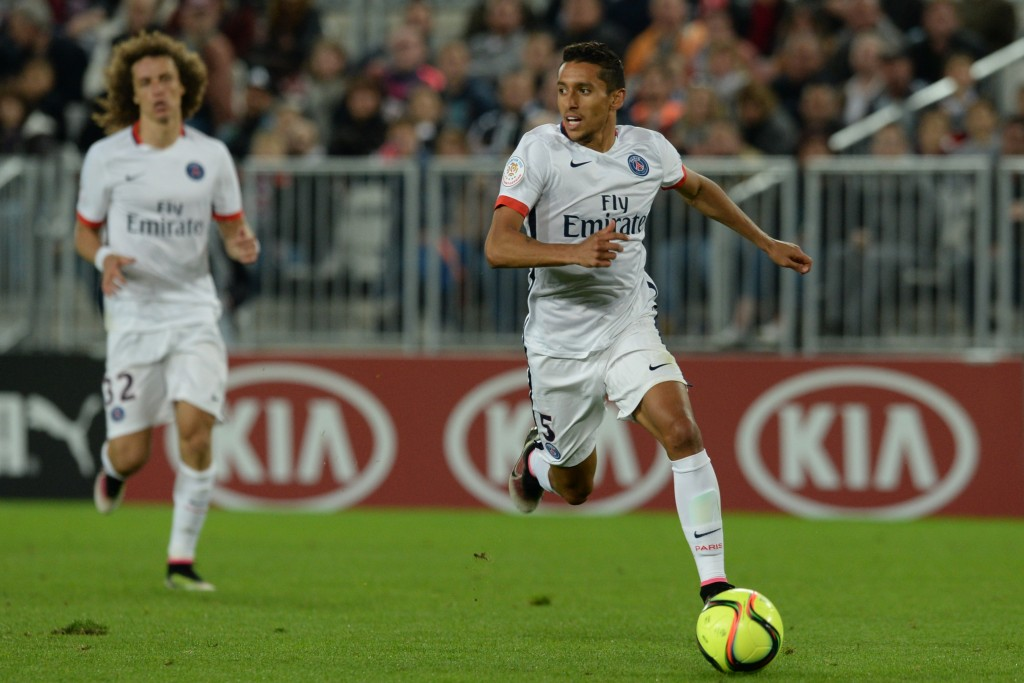 Paris Saint-Germain's Brazilian defender Marquinhos runs after the ball during the French L1 football match between Bordeaux and Paris (PSG) on May 11, 2016 at the Matmut Atlantique stadium in Bordeaux, southwestern France. AFP PHOTO / NICOLAS TUCAT / AFP / NICOLAS TUCAT (Photo credit should read NICOLAS TUCAT/AFP/Getty Images)