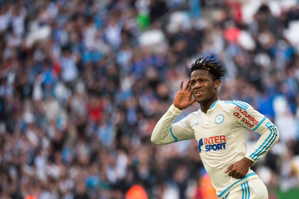Marseille's Belgian forward Michy Batshuayi celebrates after scoring the 1-1 goal during the French L1 football match between Olympique de Marseille and Saint-Etienne at Velodrome Stadium in Marseille, southern France, on February 21, 2016. The match ended in a 1-1 draw. AFP PHOTO / BERTRAND LANGLOIS / AFP / BERTRAND LANGLOIS (Photo credit should read BERTRAND LANGLOIS/AFP/Getty Images)