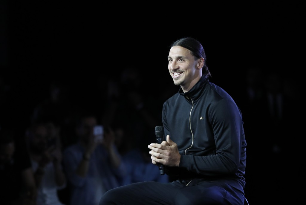 Former Paris Saint-Germain (PSG) forward Zlatan Ibrahimovic smiles during a press conference for the presentation of his sportswear brand A-Z, on June 7, 2016 in Paris. / AFP / FRANCOIS GUILLOT (Photo credit should read FRANCOIS GUILLOT/AFP/Getty Images)