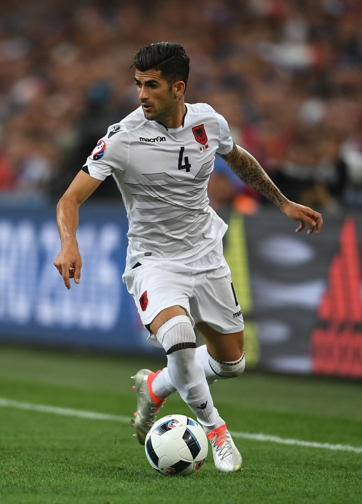 MARSEILLE, FRANCE - JUNE 15: Elseid Hysaj of Albania in action during the UEFA Euro 2016 Group A match between France and Albania at Stade Velodrome on June 15, 2016 in Marseille, France. (Photo by Laurence Griffiths/Getty Images)