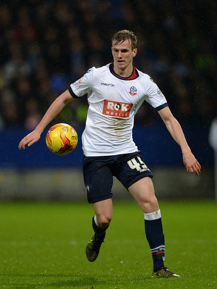BOLTON, ENGLAND - JANUARY 02: Rob Holding of Bolton during the Sky Bet Championship match between Bolton Wanderers and Huddersfield Town at the Macron Stadium on January 2, 2016 in Bolton, United Kingdom. (Photo by Gareth Copley/Getty Images)
