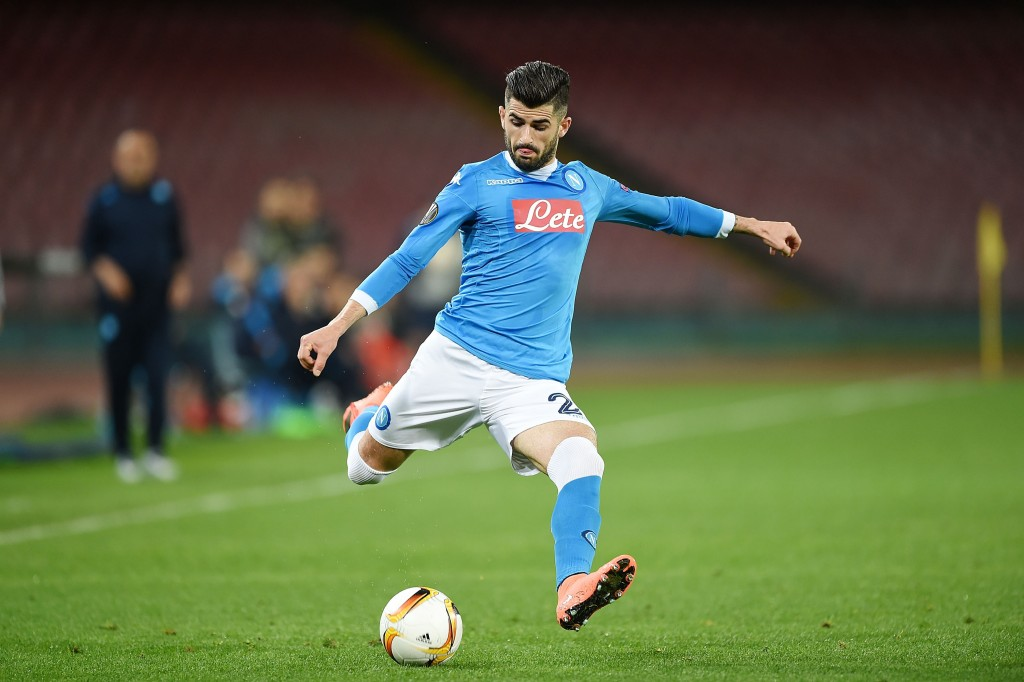NAPLES, ITALY - FEBRUARY 25: Elseid Hysaj of Napoli in action during the UEFA Europa League Round of 32 second leg match between SSC Napoli and Villarreal FC on February 25, 2016 in Naples, Italy. (Photo by Francesco Pecoraro/Getty Images)