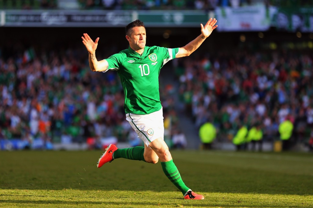DUBLIN, IRELAND - JUNE 07: Robbie Keane of the Republic of Ireland celebrates after scoring during the FIFA 2014 World Cup Qualifier between Republic of Ireland and the Faroe Islands at the Aviva Stadium on June 7, 2013 in Dublin, Ireland. (Photo by Bryn Lennon/Getty Images)