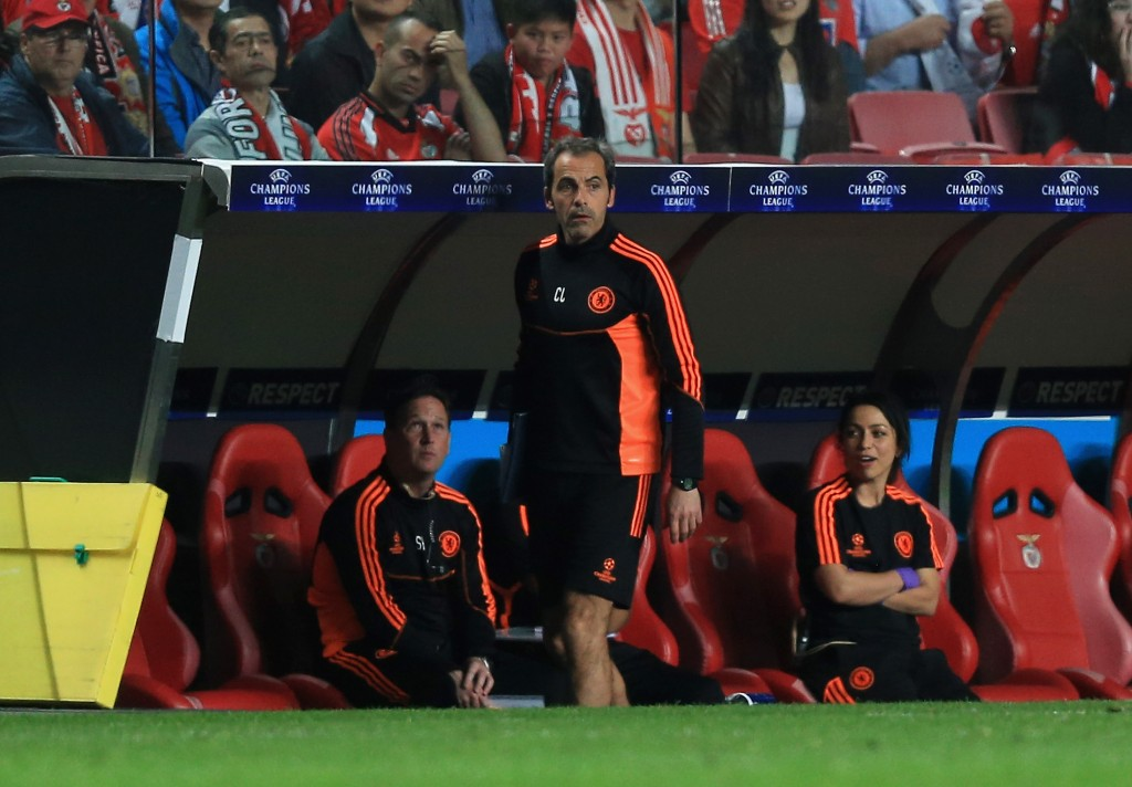 LISBON, PORTUGAL - MARCH 27: Christophe Lollichon, Chelsea goalkeeping coach is asked to leave the bench during the UEFA Champions League Quarter Final first leg match between Benfica and Chelsea at Estadio da Luz on March 27, 2012 in Lisbon, Portugal. (Photo by Clive Rose/Getty Images)