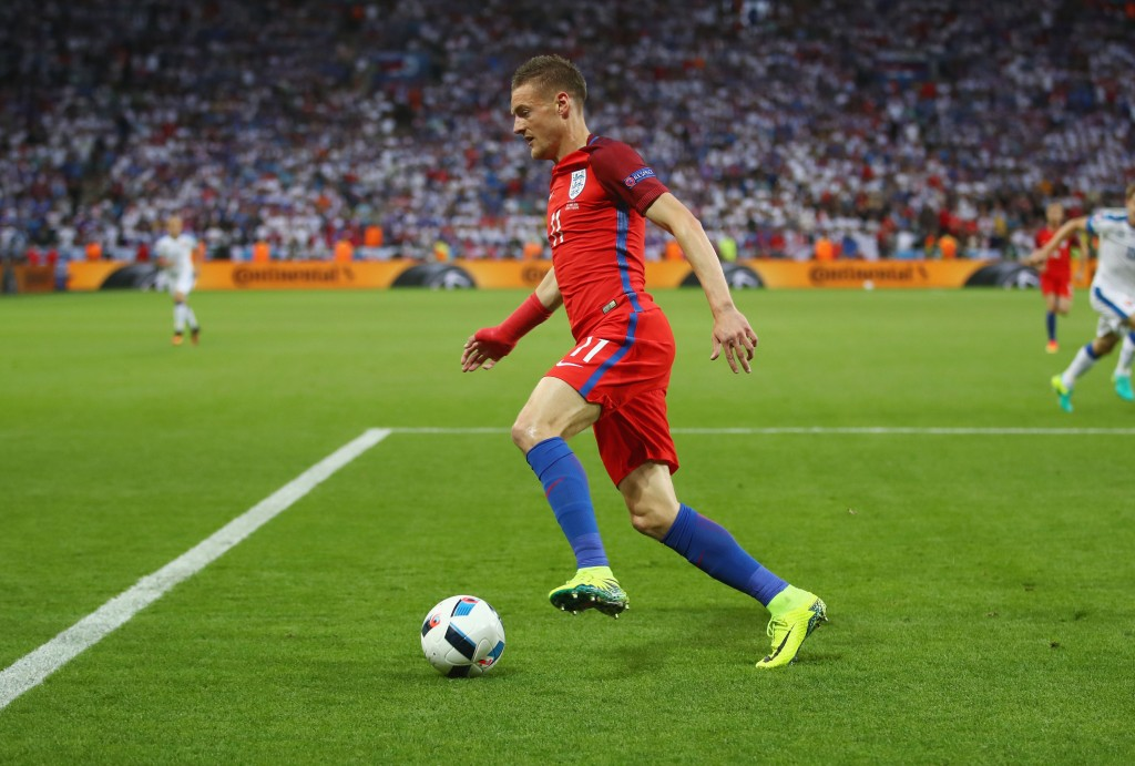 SAINT-ETIENNE, FRANCE - JUNE 20: Jamie Vardy of England in action during the UEFA EURO 2016 Group B match between Slovakia and England at Stade Geoffroy-Guichard on June 20, 2016 in Saint-Etienne, France. (Photo by Clive Brunskill/Getty Images)