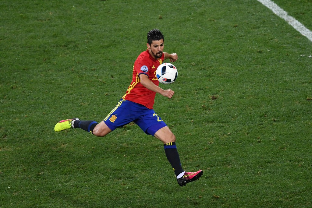 NICE, FRANCE - JUNE 17: Nolito of Spain scores his sides second goal during the UEFA EURO 2016 Group D match between Spain and Turkey at Allianz Riviera Stadium on June 17, 2016 in Nice, France. (Photo by Laurence Griffiths/Getty Images)