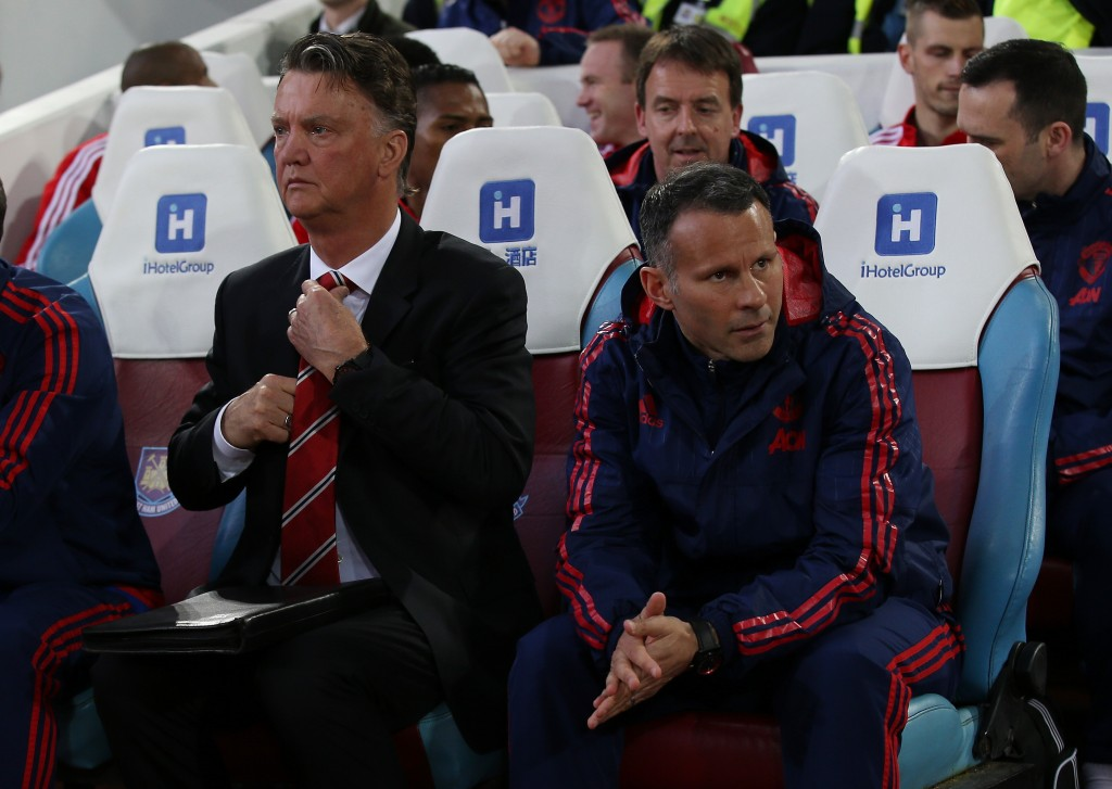 LONDON, ENGLAND - APRIL 13: Louis van Gaal, manager of Manchester United Ryan Giggs, Assistant Manager of Manchester United look on during The Emirates FA Cup, sixth round replay between West Ham United and Manchester United at the Boleyn Ground on April 13, 2016 in London, England. (Photo by Ian Walton/Getty Images)