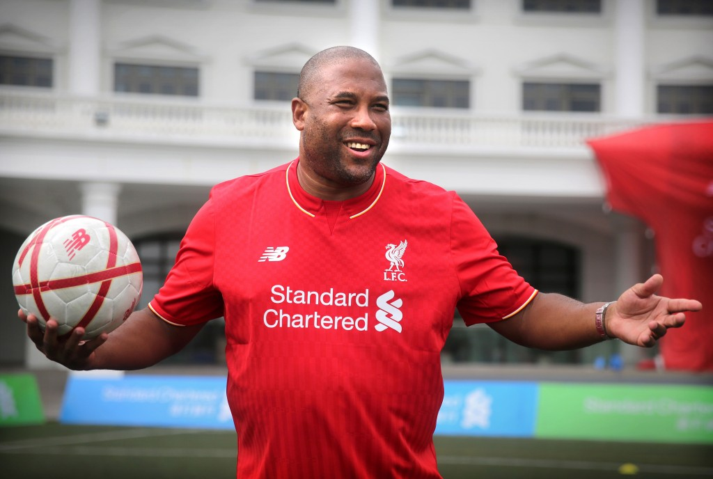 This picture taken on April 17, 2016 shows John Barnes, a former English and Liverpool football player, gesturing during a Liverpool FC Soccer Clinic in Hong Kong. England legend John Barnes has questioned the integrity of the Chinese Super Leagues recent big-money imports, suggesting they lack the desire to be top-quality footballers. / AFP / ISAAC LAWRENCE / To go with AFP story Fbl-Asia-HKG-CHN-Barnes by Daniel Hicks (Photo credit should read ISAAC LAWRENCE/AFP/Getty Images)
