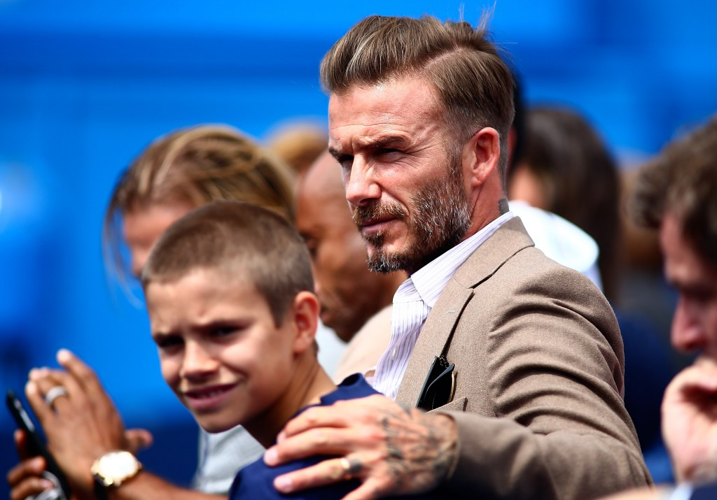 LONDON, ENGLAND - JUNE 14: David Beckham watches the action with his son Romeo Beckham during day two of the Aegon Championships at The Queens Club on June 14, 2016 in London, England. (Photo by Jordan Mansfield/Getty Images) (Photo by Jordan Mansfield/Getty Images )