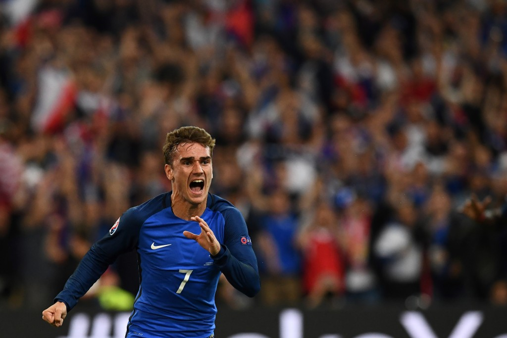 France's forward Antoine Griezmann reacts after scoring France's first goal during the Euro 2016 group A football match between France and Albania at the Velodrome stadium in Marseille on June 15, 2016. France beat Albania 2-0. / AFP / FRANCK FIFE (Photo credit should read FRANCK FIFE/AFP/Getty Images)