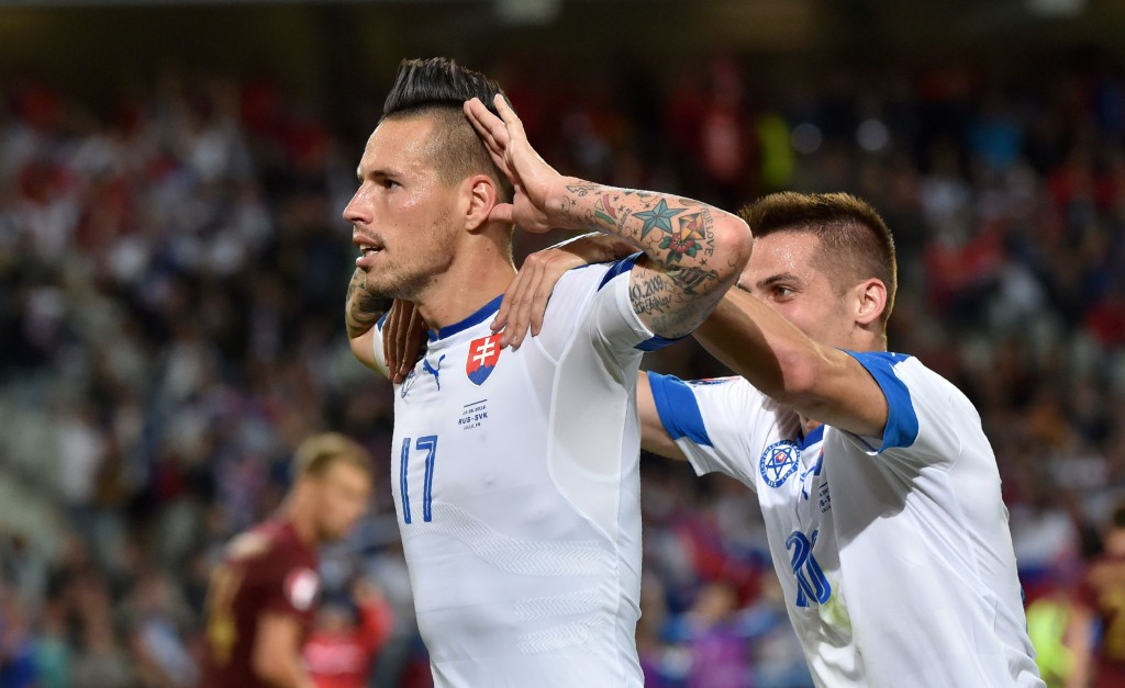 Slovakia's midfielder Marek Hamsik celebrates his goal during the Euro 2016 group B football match between Russia and Slovakia at the Pierre-Mauroy Stadium in Villeneuve-d'Ascq, near Lille, on June 15, 2016. / AFP / PHILIPPE HUGUEN (Photo credit should read PHILIPPE HUGUEN/AFP/Getty Images)