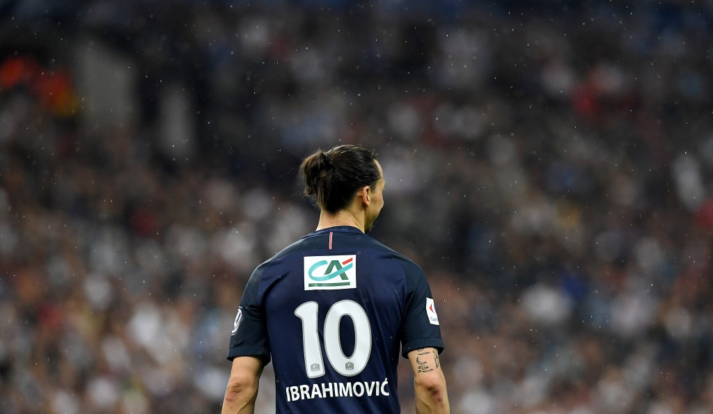 Paris Saint-Germain's Swedish forward Zlatan Ibrahimovic reacts during the French Cup final football match between Marseille (OM) and Paris Saint-Germain (PSG) on May 21, 2016 at the Stade de France in Saint-Denis, north of Paris. / AFP / FRANCK FIFE (Photo credit should read FRANCK FIFE/AFP/Getty Images)