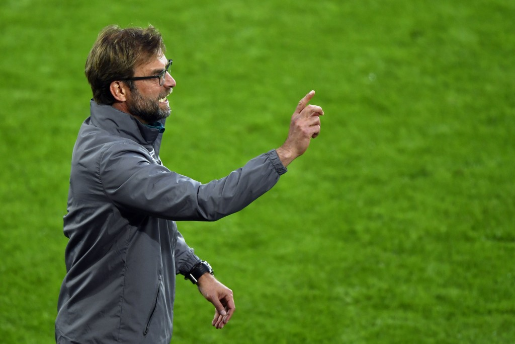 Liverpool's German head coach Jurgen Klopp gestures during the UEFA Europa League final football match between Liverpool FC and Sevilla FC at the St Jakob-Park stadium in Basel, on May 18, 2016. AFP PHOTO / FABRICE COFFRINI / AFP / FABRICE COFFRINI (Photo credit should read FABRICE COFFRINI/AFP/Getty Images)