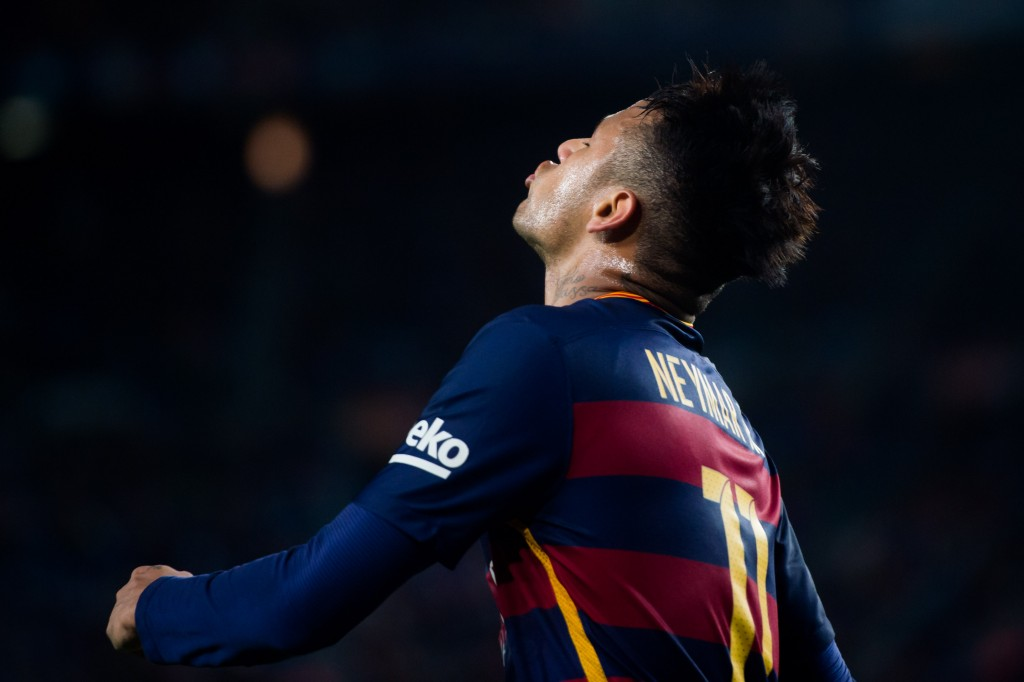 BARCELONA, SPAIN - APRIL 23: Neymar Santos Jr of FC Barcelona reacts during the La Liga match between FC Barcelona and Sporting Gijon at Camp Nou on April 23, 2016 in Barcelona, Spain. (Photo by Alex Caparros/Getty Images)