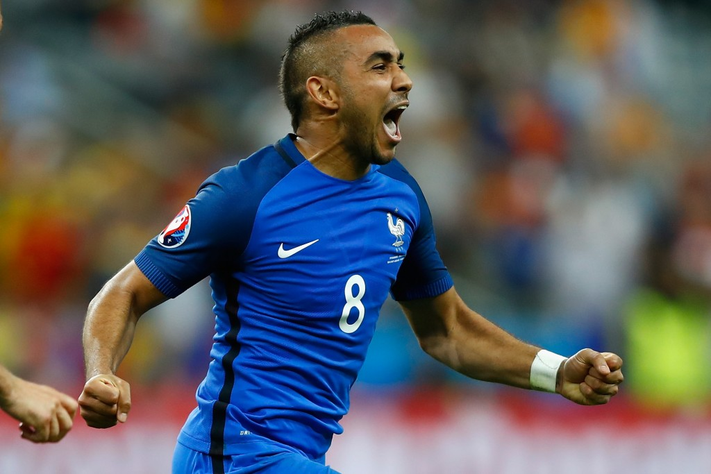 PARIS, FRANCE - JUNE 10: Dimitri Payet of France celebrates scoring his team's second goal during the UEFA Euro 2016 Group A match between France and Romania at Stade de France on June 10, 2016 in Paris, France. (Photo by Clive Rose/Getty Images)