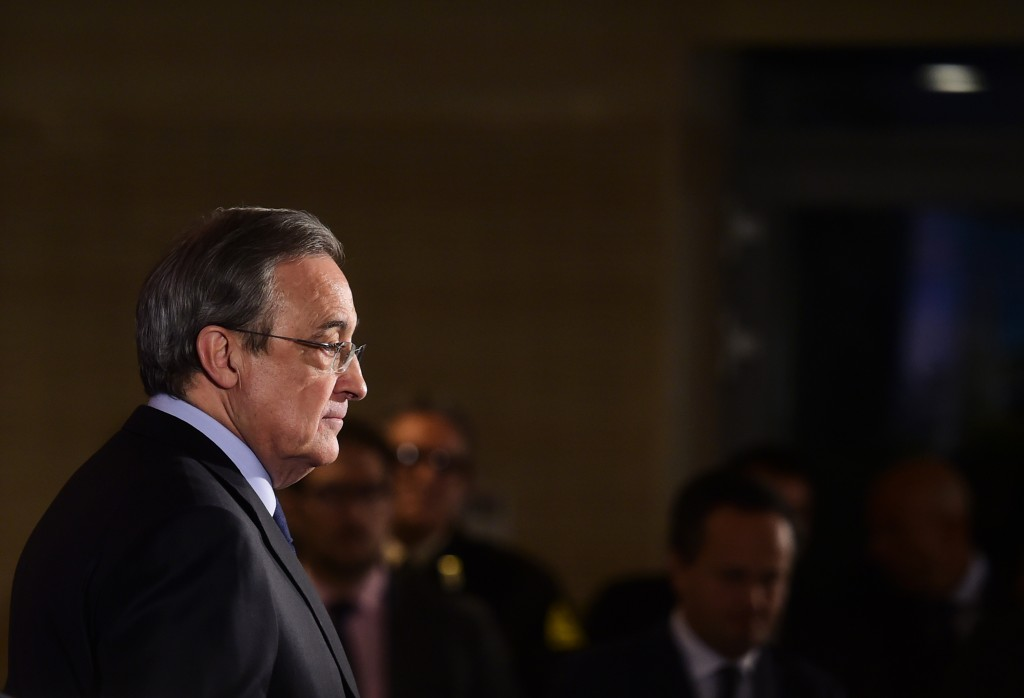 Real Madrid's president Florentino Perez looks on after a press conference at the Santiago Bernabeu stadium in Madrid on December 3, 2015, a day after the team fielded a suspended player during a match against Cadiz. Real Madrid edged closer to the Spanish Cup exit door today after third divison Cadiz appealed their midweek cup defeat because the capital giants had inadvertently fielded Russian international Denis Cheryshev, a move that last season saw second division Osasuna booted out of the cup in an almost identical case. AFP PHOTO/ PIERRE-PHILIPPE MARCOU / AFP / PIERRE-PHILIPPE MARCOU (Photo credit should read PIERRE-PHILIPPE MARCOU/AFP/Getty Images)