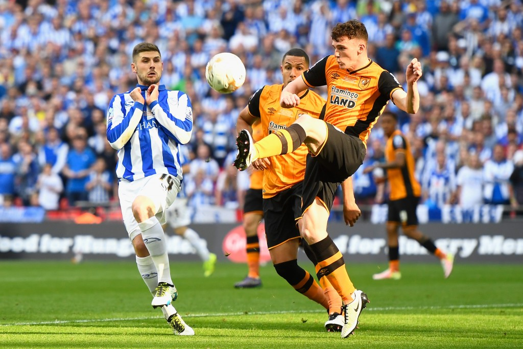 LONDON ENGLAND- MAY 28 Andrew Robertson of Hull City clears the ball during Sky Bet Championship Play Off Final match between Hull City and Sheffield Wednesday at Wembley Stadium
