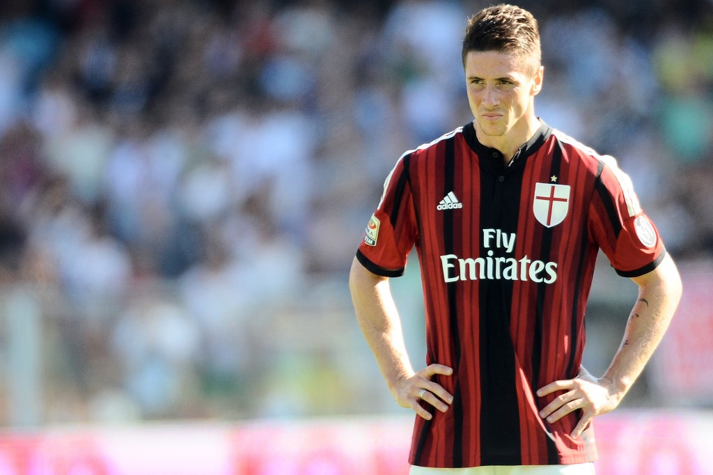 CESENA, ITALY - SEPTEMBER 28: Fernando Torres # 9 of AC Milan looks on during the Serie A match between AC Cesena and AC Milan at Dino Manuzzi Stadium on September 28, 2014 in Cesena, Italy. (Photo by Mario Carlini / Iguana Press/Getty Images)