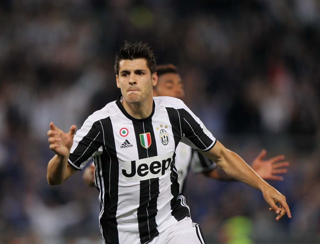 ROME, ITALY - MAY 21: Alvaro Morata of Juventus FC celebrates after scoring the opening goal during the TIM Cup match between AC Milan and Juventus FC at Stadio Olimpico on May 21, 2016 in Rome, Italy. (Photo by Paolo Bruno/Getty Images)