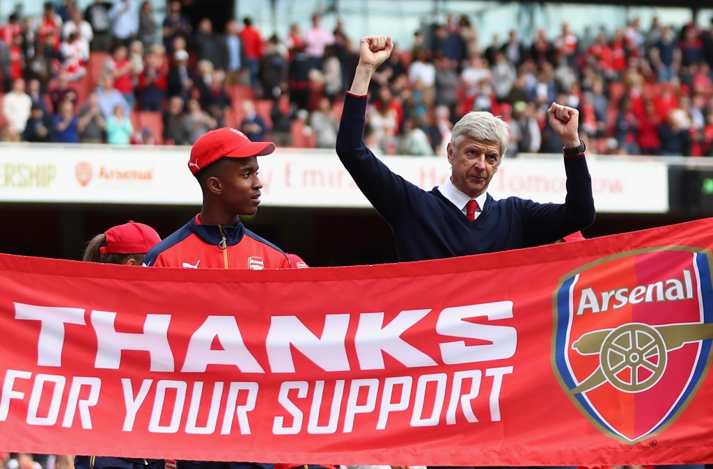London, England - May 15: Manager Arsene Wenger thanks the support after the Barclays Premier League match between Arsenal and Aston Villa at the Emirates Stadium on May 15, 2016 in London, England. (Photo by Julian Finney/Getty Images)