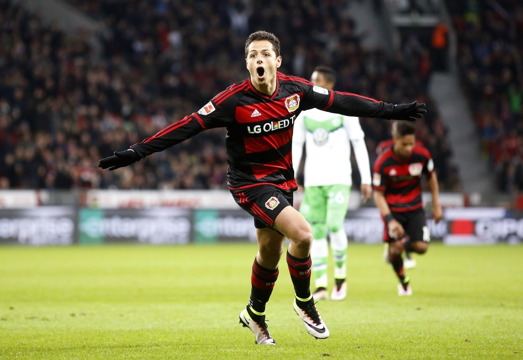 LEVERKUSEN, GERMANY - APRIL 01: Javier Hernandez Chicharito of Leverkusen celebrates scoring the 2:0 goal during the Bundesliga match between Bayer Leverkusen and VFL Wolfsburg at BayArena on April 1, 2016 in Leverkusen, Germany. (Photo by Mika Volkmann/Bongarts/Getty Images)