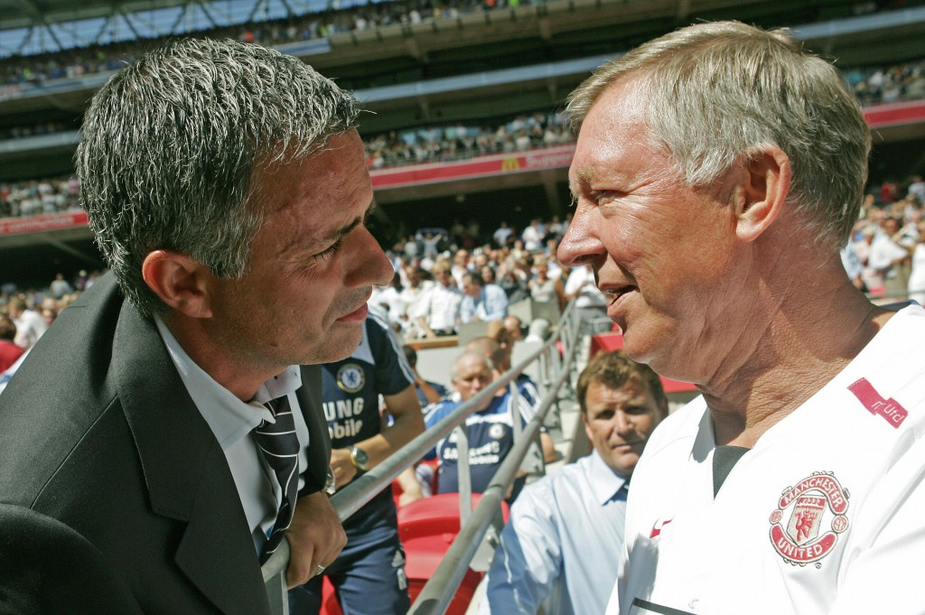 Chelsea's Portugese Manager Jose Mourinho (L) and Manchester United's Manager Sir Alex Ferguson (R) greet each other before their F.A Community Shield match football match at Wembley Stadium in London, 05 August 2007. AFP PHOTO/CARL DE SOUZA (Photo credit should read CARL DE SOUZA/AFP/Getty Images)