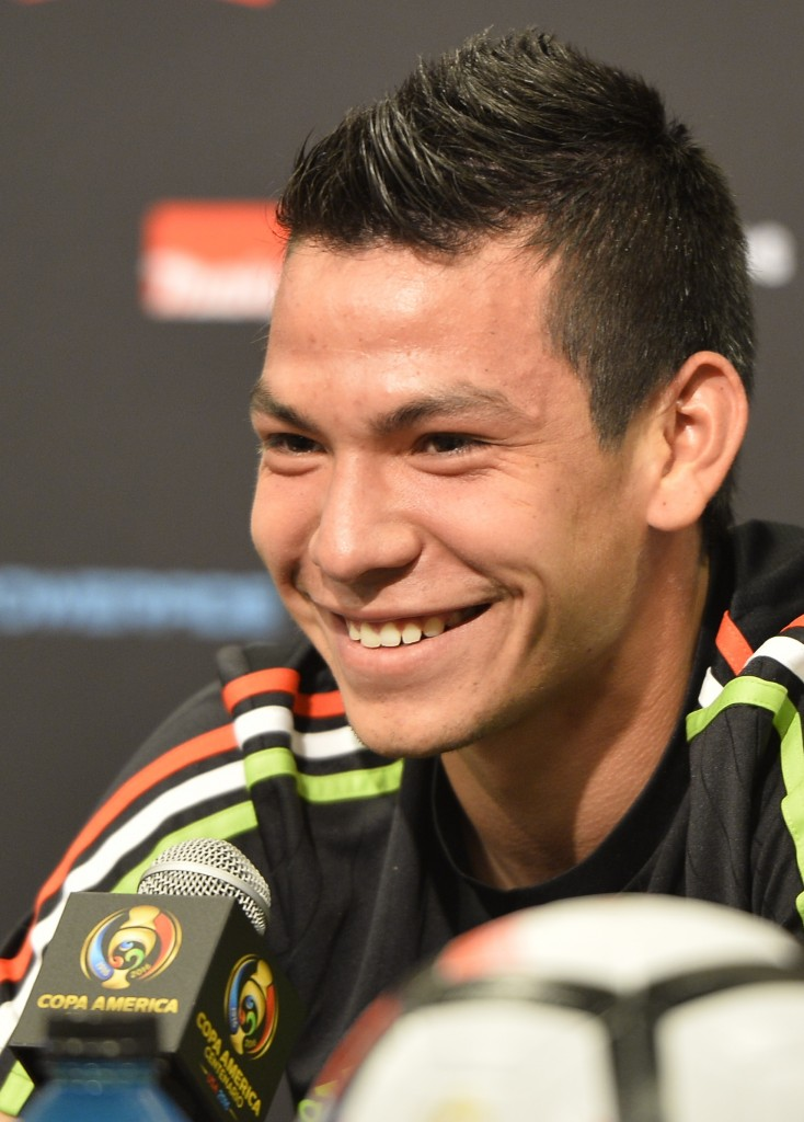 United fans would sporting a similar smile at the prospect of signing the Mexican International. (Picture courtesy Omar Torres /AFP/Getty Images)