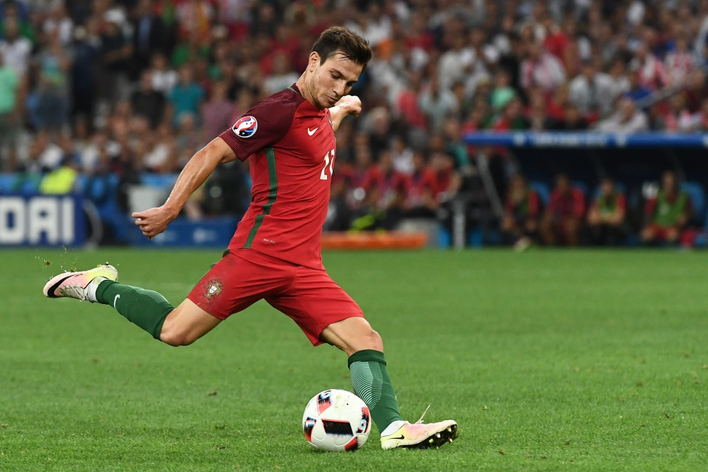 Portugal's defender Cedric Soares kicks the ball during the Euro 2016 quarter-final football match between Poland and Portugal at the Stade Velodrome in Marseille on June 30, 2016. / AFP / ANNE-CHRISTINE POUJOULAT (Photo credit should read ANNE-CHRISTINE POUJOULAT/AFP/Getty Images)