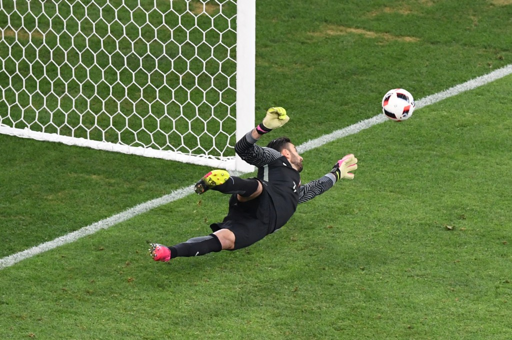 Portugal's goalkeeper Rui Patricio stops a penalty shot by Poland's midfielder Jakub Blaszczykowski during the Euro 2016 quarter-final football match between Poland and Portugal at the Stade Velodrome in Marseille on June 30, 2016. / AFP / BORIS HORVAT (Photo credit should read BORIS HORVAT/AFP/Getty Images)