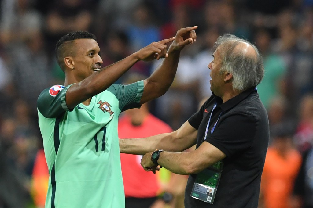 Portugal's forward Nani celebrates after scoring a goal during the Euro 2016 semi-final football match between Portugal and Wales at the Parc Olympique Lyonnais stadium in Décines-Charpieu, near Lyon, on July 6, 2016. / AFP / Francisco LEONG (Photo credit should read FRANCISCO LEONG/AFP/Getty Images)