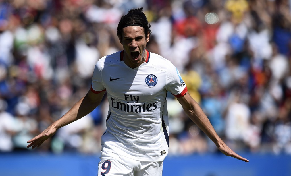 Paris Saint-Germain's Uruguyan forward Edinson Cavani celebrates his goal during the French Trophy of Champions football match against Paris-Saint-Germain vs Lyon at Saputo stadium in Montreal on August 1, 2015 AFP PHOTO / FRANCK FIFE (Photo credit should read FRANCK FIFE/AFP/Getty Images)