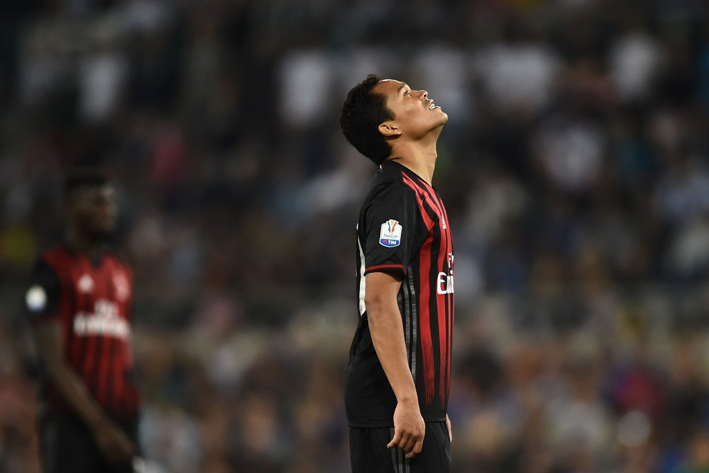 AC Milan's forward from Colombia Carlos Bacca reacts as Juventus' forward from Spain Alvaro Morata scored during the Italian Tim Cup final football match AC Milan vs Juventus on May 21, 2016 at the Olympic Stadium in Rome. AFP PHOTO / FILIPPO MONTEFORTE / AFP / FILIPPO MONTEFORTE (Photo credit should read FILIPPO MONTEFORTE/AFP/Getty Images)