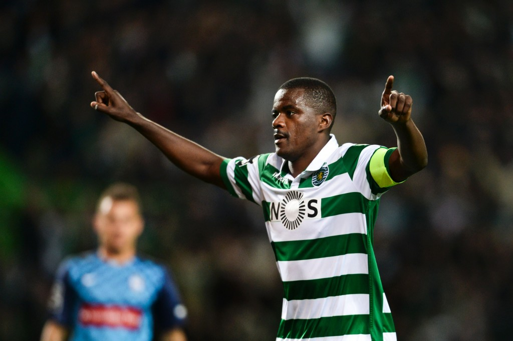 Sporting's midfielder William Carvalho celebrates after scoring during the Portuguese league football match Sporting CP vs CS Maritimo at the Jose Alvalade stadium in Lisbon on April 9, 2016. (Photo by Patricia de Melo Moreira/AFP/Getty Images)