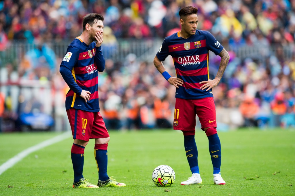 BARCELONA, SPAIN - MAY 08: Lionel Messi and Neymar Santos Jr of FC Barcelona look on during the La Liga match between FC Barcelona and RCD Espanyol at Camp Nou on May 8, 2016 in Barcelona, Spain. (Photo by Alex Caparros/Getty Images)