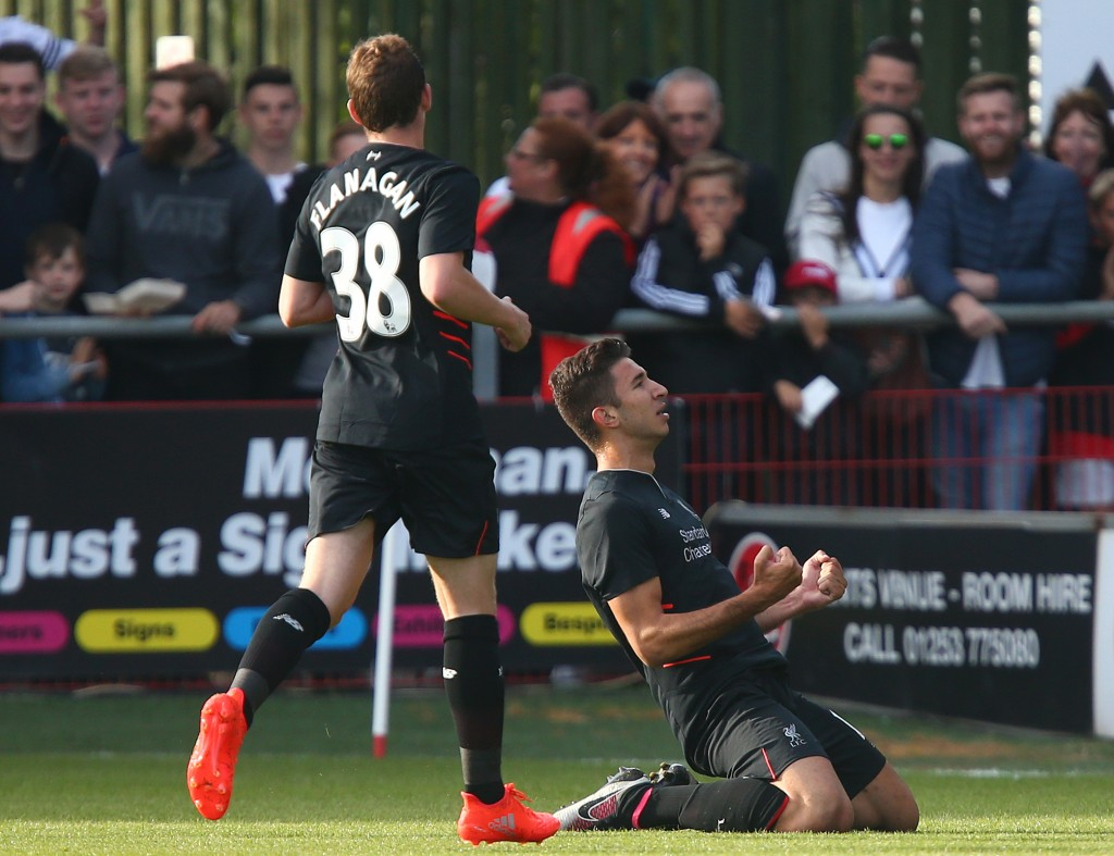 FLEETWOOD, ENGLAND - JULY 13: Marko Grujic of Liverpool celebrates scoring during the Pre-Season Friendly match between Fleetwood Town and Liverpool at Highbury Stadium on July 13, 2016 in Fleetwood, England. (Photo by Dave Thompson/Getty Images)