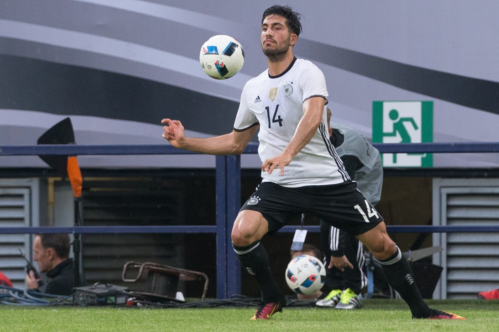 GELSENKIRCHEN, GERMANY - JUNE 04: Emre Can of Germany plays the ball during the international friendly match between Germany and Hungary at Veltins-Arena on June 4, 2016 in Gelsenkirchen, Germany. Germany won 2:0. (Photo by Maja Hitij/Bongarts/Getty Images)