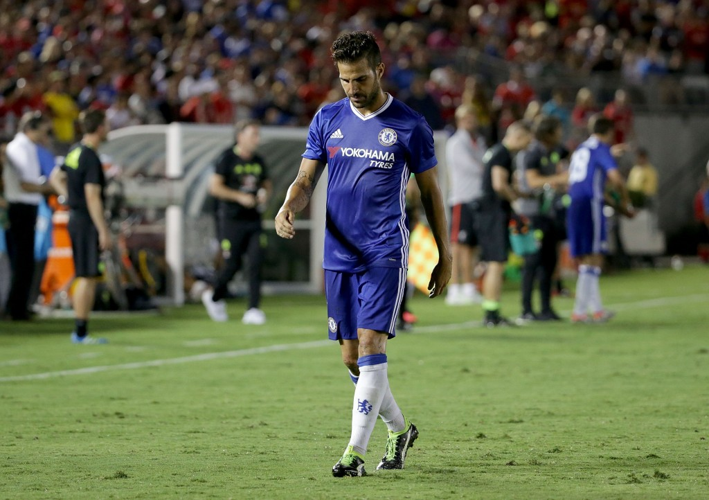 Fabregas has cut a frustrated figure on the bench so far (Picture Courtesy - AFP/Getty Images)