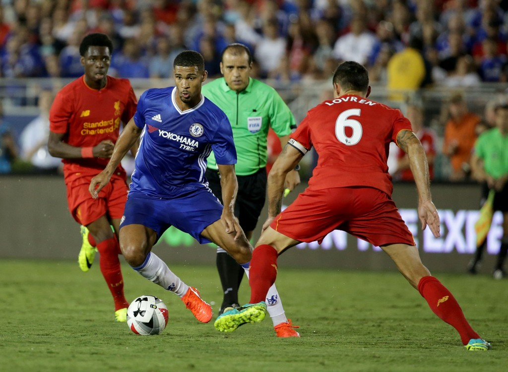 PASADENA, CA - JULY 27: Ruben Loftus-Cheek #36 of Chelsea is pursued by Dejan Lovren #6 of Liverpool in the second half during the 2016 International Champions Cup at Rose Bowl on July 27, 2016 in Pasadena, California. Chelsea defeated Liverpool 1-0. (Photo by Jeff Gross/Getty Images)