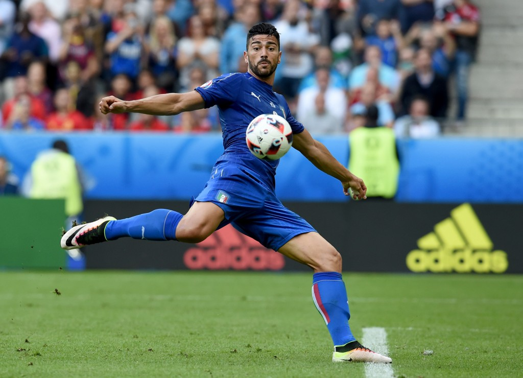 PARIS, FRANCE - JUNE 27: Graziano Pelle of Italy scores his team's second goal during the UEFA EURO 2016 round of 16 match between Italy and Spain at Stade de France on June 27, 2016 in Paris, France. (Photo by Claudio Villa/Getty Images)