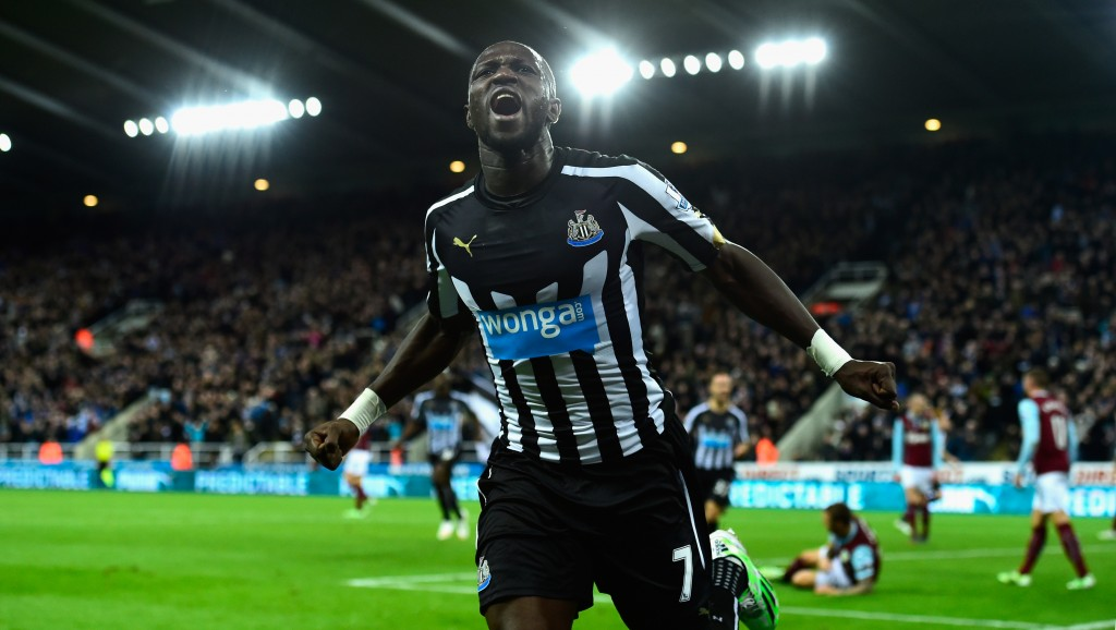 NEWCASTLE UPON TYNE, ENGLAND - JANUARY 01: Newcastle United player Moussa Sissoko celebrates after scoring their third goal during the Barclays Premier League match between Newcastle United and Burnley at St James' Park on January 1, 2015 in Newcastle upon Tyne, England. (Photo by Stu Forster/Getty Images)