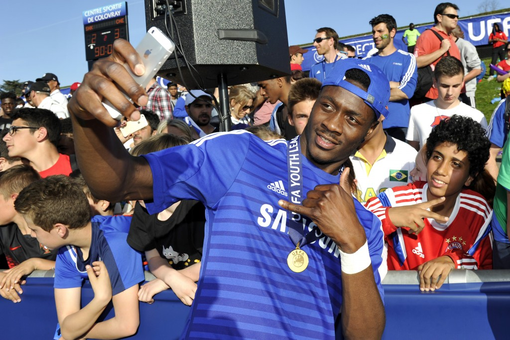 NYON, SWITZERLAND - APRIL 13: Ola Aina of Chelsea FC celebrates his team victory after the UEFA Youth League final match between FC Shakhtar Donetsk and Chelsea FC at Colovray on April 13, 2015 in Nyon, Switzerland. (Picture Courtesy - Harold Cunningham/Getty Images)