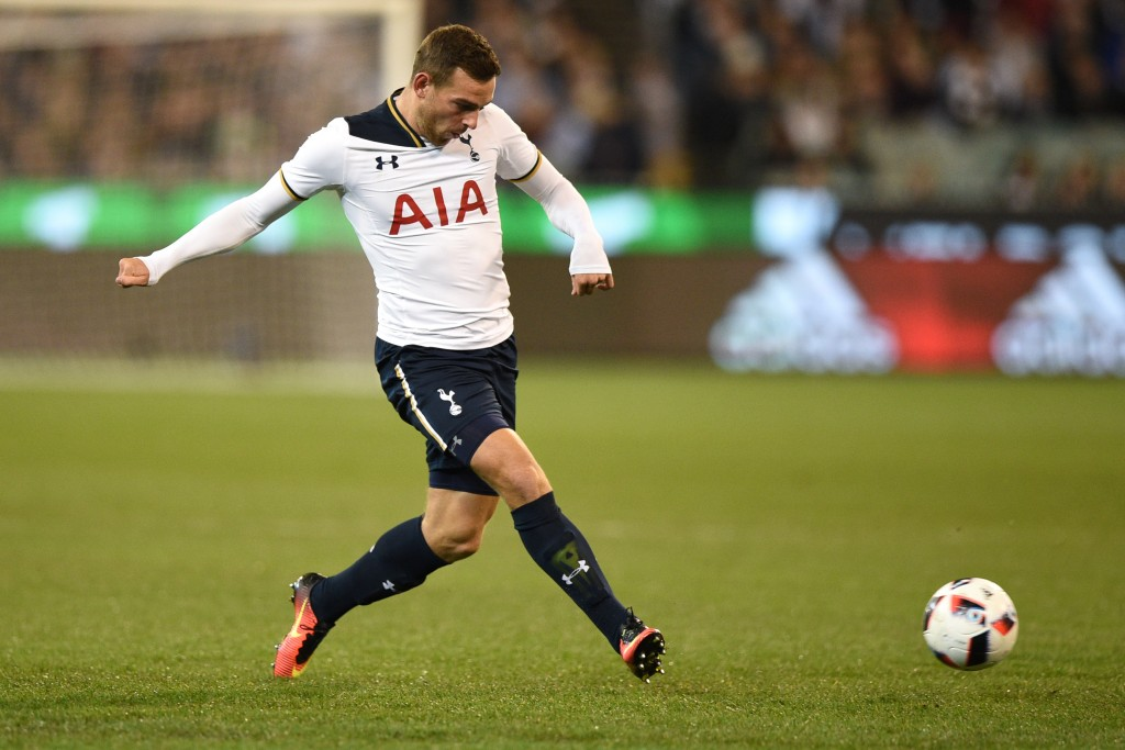 MELBOURNE, AUSTRALIA - JULY 29: Vincent Janssen of Tottenham Hotspur passes the ball during 2016 International Champions Cup Australia match between Tottenham Hotspur and Atletico de Madrid at Melbourne Cricket Ground on July 29, 2016 in Melbourne, Australia. (Photo by Vince Caligiuri/Getty Images)