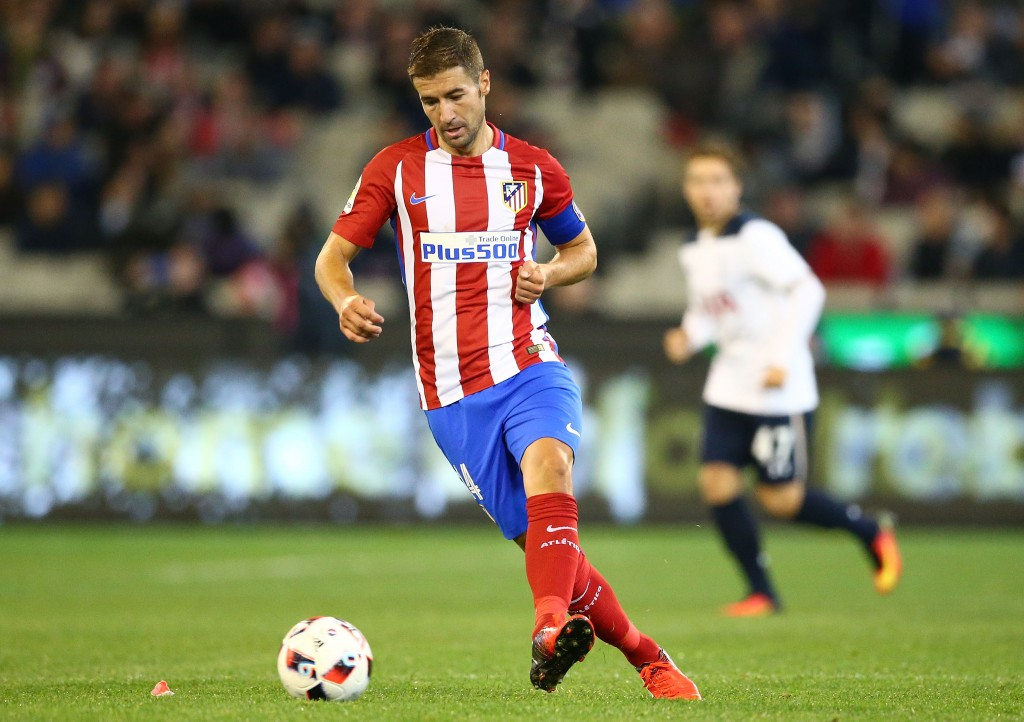 MELBOURNE, AUSTRALIA - JULY 29: Gabi of Atletico de Madrid competes for the ball during 2016 International Champions Cup Australia match between Tottenham Hotspur and Atletico de Madrid at the Melbourne Cricket Ground on July 29, 2016 in Melbourne, Australia. (Photo by Scott Barbour/Getty Images)