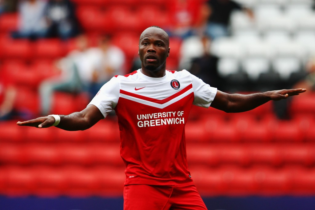 LONDON, ENGLAND - SEPTEMBER 27: Andre Bikey-Amougou of Charlton Athletic reacts during the Sky Bet Championship match between Charlton Athletic and Middlesbrough at The Valley on September 27, 2014 in London, England. (Photo by Ker Robertson/Getty Images)