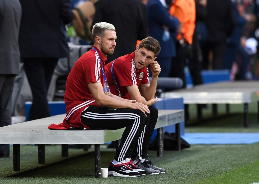 LYON, FRANCE - JULY 06: Suspended Aaron Ramsey (L) and Ben Davies (R) of Wales are seen prior to the UEFA EURO 2016 semi final match between Wales and Portugal at Stade des Lumieres on July 6, 2016 in Lyon, France. (Photo by Stu Forster/Getty Images)