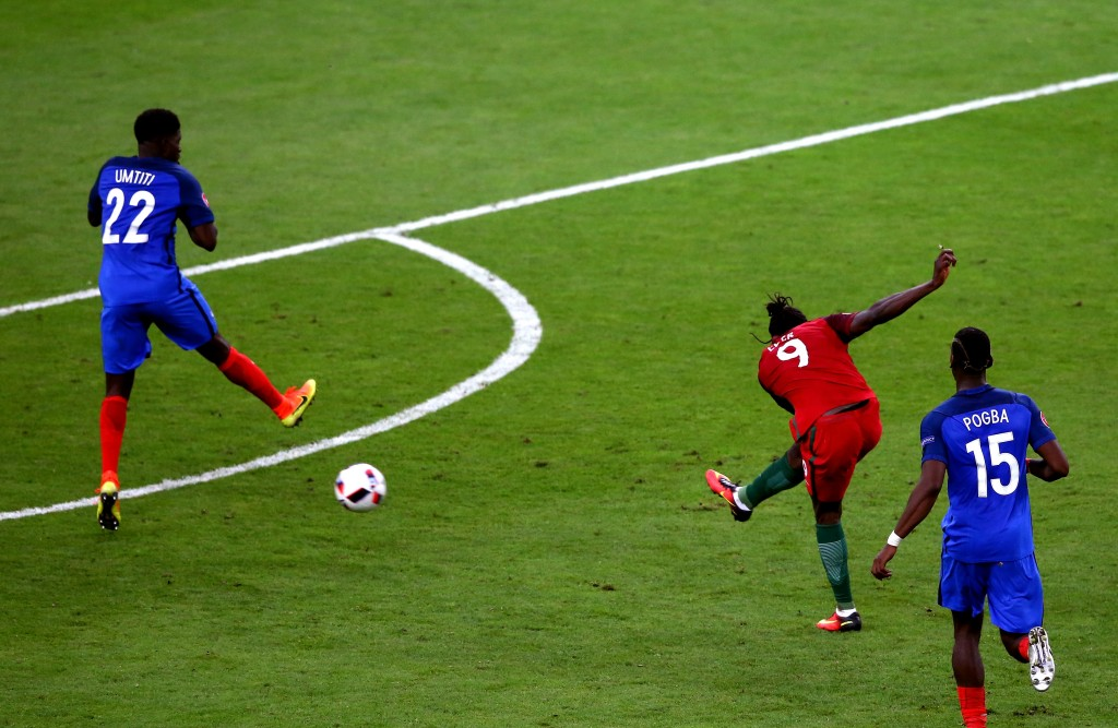 PARIS, FRANCE - JULY 10: Eder of Portugal scores the opening goal during the UEFA EURO 2016 Final match between Portugal and France at Stade de France on July 10, 2016 in Paris, France. (Photo by Alex Livesey/Getty Images)