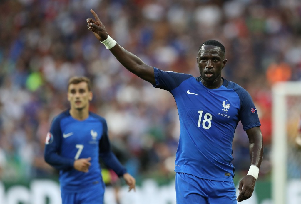 France's midfielder Moussa Sissoko gestures next to France's forward Antoine Griezmann during the Euro 2016 final football match between Portugal and France at the Stade de France in Saint-Denis, north of Paris, on July 10, 2016. / AFP / Valery HACHE (Photo credit should read VALERY HACHE/AFP/Getty Images)