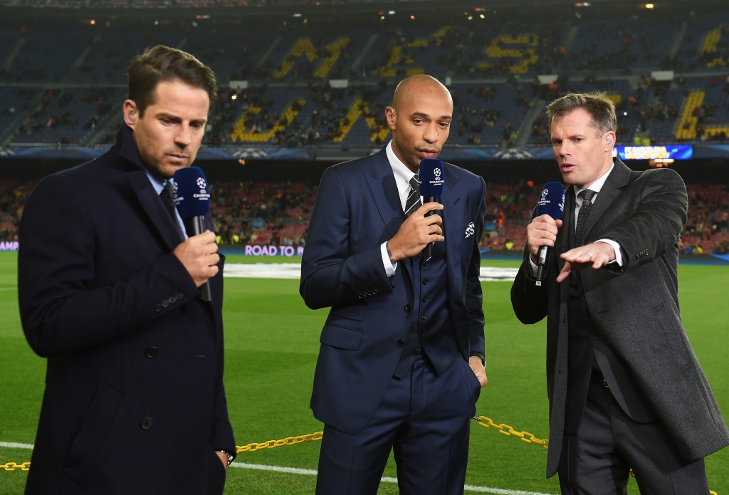 BARCELONA, SPAIN - MARCH 18: (L-R) Sky Sports commentators Jamie Redknapp, Thierry Henry and Jamie Carragher talk prior to the UEFA Champions League Round of 16 second leg match between Barcelona and Manchester City at Camp Nou on March 18, 2015 in Barcelona, Spain. (Photo by Michael Regan/Getty Images)