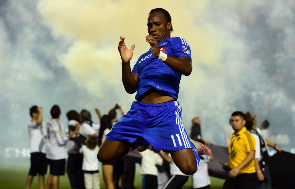 Didier Drogba of the Montreal Impact warms up prior to kickoff against the LA Galaxy in their MLS match on September 12, 2015 in Carson, California which ended 0-0. AFP PHOTO /FREDERIC J.BROWN (Photo credit should read FREDERIC J. BROWN/AFP/Getty Images)